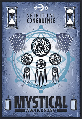 vintage colored mystic poster with spiritual jewelry tarot cards sandglass runic letters candles pentagram